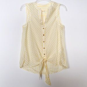 Anthropologie Maeve Yellow Stripe Tie Front Blouse